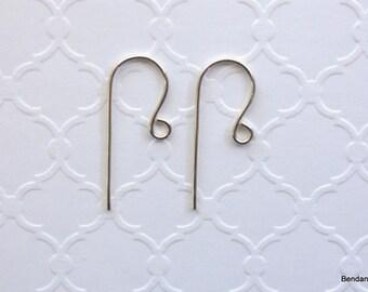 Sterling Silver Earwires, Handmade Ear Wires, Silver Earring Hooks, 20 Gauge