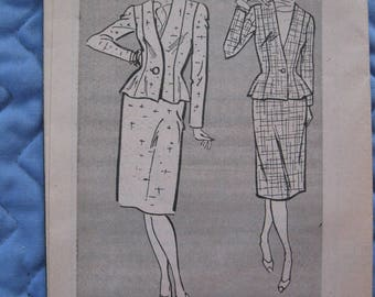 New 1950's #4075 Tailored SkirtSuit Misses' Size 8-10-12-14 - Size 16-18-20-22 Sewing Pattern