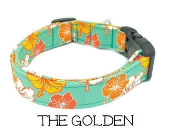 Dog Collar, Hawaiian Dog Collar, The Golden, Tropical Dog Collar, Hibiscus Dog Collar, Girl Dog Collar, Dog Gift, Matching Leash Available