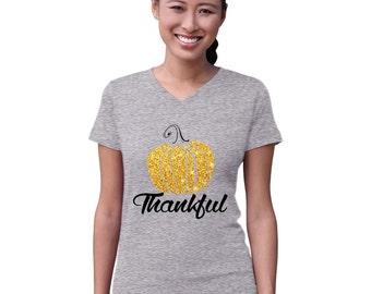 Thankful Glitter Pumpkin Women V-Neck Shirt