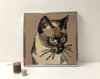Siamese cat needlepoint - framed vintage needlework - 1970s vintage