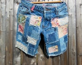 patched cutoff jeans, patched denim, jean shorts,  up cycled, trendy boho, grungy, hippie, one of a kind, size 29