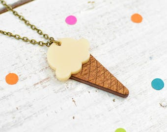 Vanilla Ice Cream Necklace | Alternative Wedding Necklace | Ice Cream Cone | Summer Jewellery