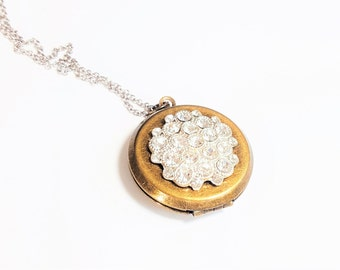 Vintage Rhinestone Locket Necklace - Mixed Metal Necklace - Bridesmaid Locket - Wedding Locket - Locket Gift - Silver Necklace - Bridesmaid