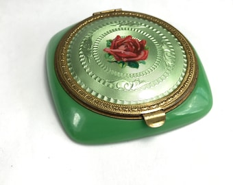 Green Lucite and Guilloche Compact with Red Rose
