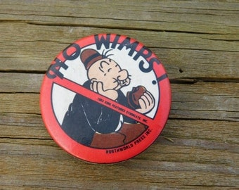"""Vintage Pin Pinback Button with Wimpy From Popeye That Reads """" No Wimps"""" Dr25"""