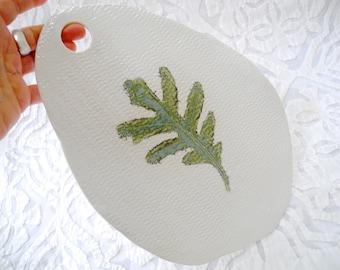 Oak Leaf Platter, Cheese Board,  Ceramic Cheese Platter, Organic shape, Woodland Decor, Minimalist Decor, Teal Green, Leaf Decor, Leaf Plate