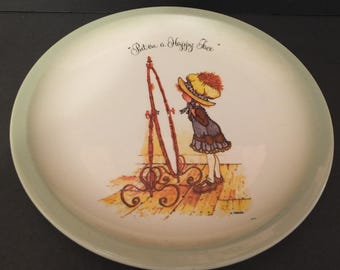 """1972 Holly Hobbie """"Put On A Happy Face""""  Collectors Plate"""