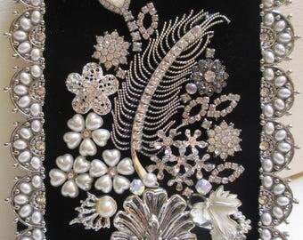 Jeweled Framed Jewelry Flower Bouquet Black Silver Pearl