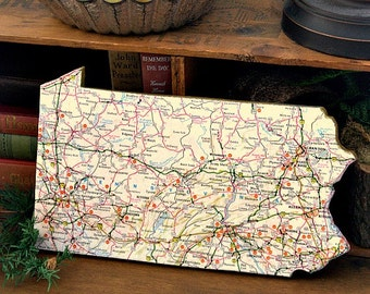 PENNSYLVANIA State Vintage Mini Map Wall Art