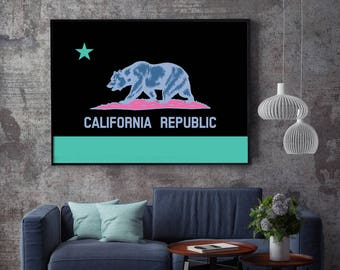 California Flag, California State Flag, California Flag Art Print, California Flag Wall Art, California Flag Poster, CA Flag Print, Flag Art