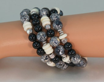 Memory wire bracelet, black, white wrap bracelet, gemstone bracelet, black, cream jewelry, memory wire wrap bracelet