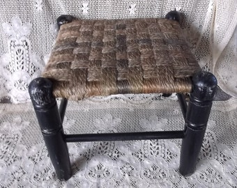 Vintage Stool, Hemp weave stool, tattered and time worn, Rustic chic stool