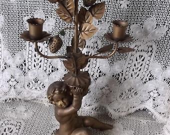 Vintage Baroque Tole, antiqued goldtone cherub candleabra, metal and ceramic, time worn vintage