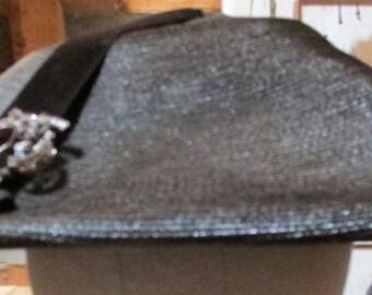 Ladies vintage wide-brim HAT with brooch, black, sold by Davison's a/k/a Macy's in Atlanta