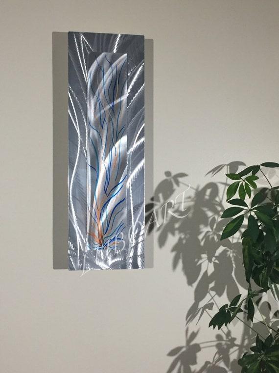 Vertical Metal Wall Decor : Abstract metal art painting vertical horizontal modern home
