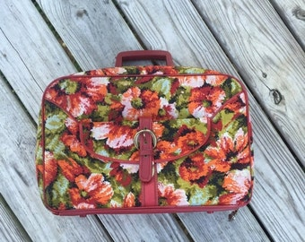 ON SALE Suitcase Soft Side Case Retro Floral Luggage