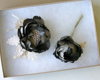 Boutonniere or corsage set . Pure silk. Dupioni silk. Pewter, silver, charcoal, gray, graphite, champagne
