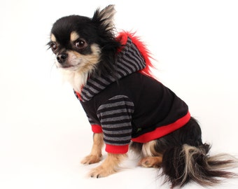 Dog Clothes Red Mohawk Hoodie for Dogs black and grey stripes Clothes for Pets XS ooak