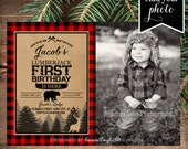 Lumberjack first birthday invites - Photo Buffalo Plaid - Lumberjack birthday - Printable Invite - Digital Download