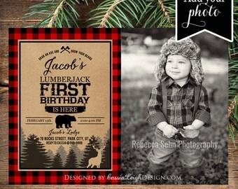 Lumberjack first birthday - Photo Buffalo Plaid - Lumberjack birthday - Printable Invite - Digital Download