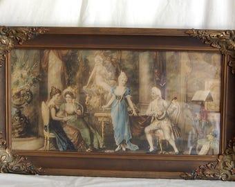 Antique Victorian Era Framed Portrait Interior Music Scene Print