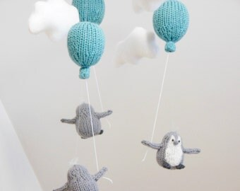 Penguin Baby Mobile, Penguin Nursery Mobile, Cloud Balloon Mobile, Gray Nursery, Balloon Hanging Mobile, Baby Boy Nursery Mobile, Penguins