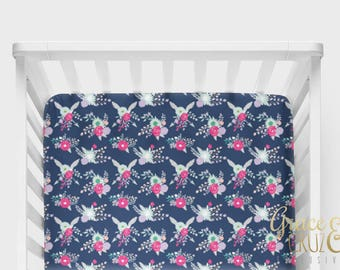 Fitted Crib Sheet -Midnight Gracie Floral // Navy Blue Fuchsia Lavender Blush and Mint Teal Flowers
