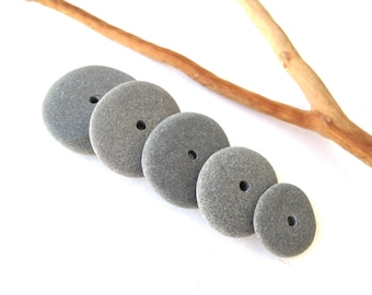 Rock Donut Beads Drilled Stone Spacers Beach Stone Beads Mediterranean Natural Stone Beads Diy Jewelry Pairs MISTY GREY WHEELS 17-28 mm
