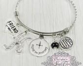 Enjoy the Journey Bangle Bracelet, Personalized Best Friend Gift, New Job Gift, Long Distance Gift,Charm Bracelet, Graduation Gifts, Jewelry