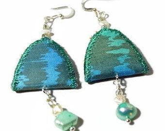 boho vintage textile earrings, handpained silk earrings, festival earrings, pearl jewellery, arch, blue, silk jewelry, dangle earrings, ooak