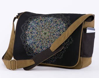 PEYOTE Messenger Bag, Laptop Bag, Sacred Geometry, Computer Bag, 13 inch 15 inch Laptop Messenger Bag, Canvas Messenger Bag