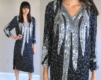 60% Off vtg 80s black silk SILVER sequinned FLAPPER DRESS trophy Med holiday cocktail party nye
