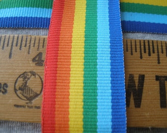 """Rainbow woven ribbon 25mm 1"""" trim choose yards lots costume craft hair bows embellishment gift wrap millenary blue green red orange yellow"""