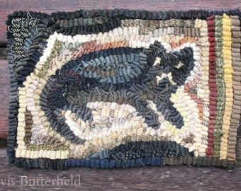 Primitive Wool Folk Art Hooked Rug Old Cat Mat ~ Early Style