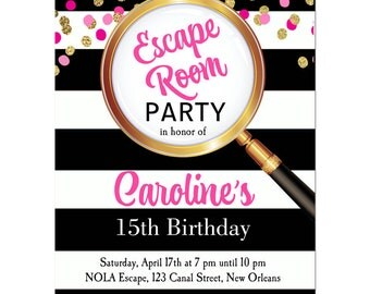 Girl's Escape Room Party Invitation Printable or Printed with FREE SHIPPING - Girl's Confetti Collection