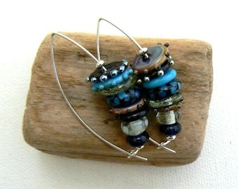 Handmade turquoise and blue Lampwork Earrings,Lampwork and Sterling Silver Earrings,OOAK