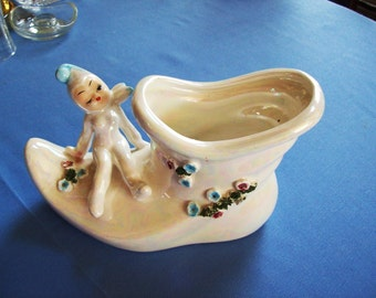art pottery pixie, elf and shoe planter, fairy and boot vase, made in Japan