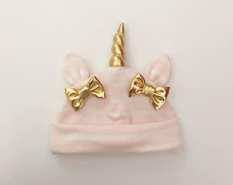 Unicorn Hat Blush Stripe