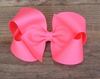 """Basic Hair Bow, NEON Pink Hair Bow, Boutique Hairbow, 5"""" Basic Hair Bow, Solid Color Bow, Hair Bow, Large Hair Bow, NEON Hair Bows, Hair Bow"""