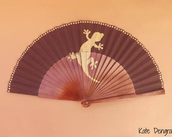 Gecko Lizard Brown Gold Hand Fan SIZE OPTIONS Folding Wooden Flamenco Handheld Spanish from Spain Hand Painted by Kate Dengra