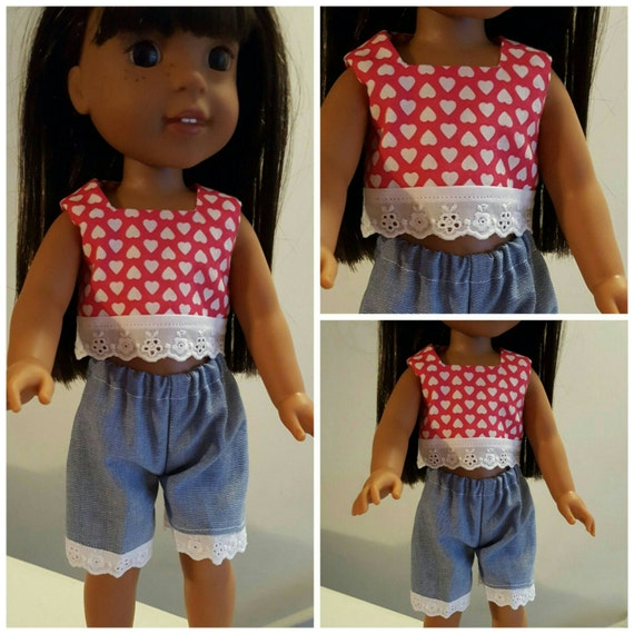 Wellie Wisher Doll and Disney Toddler Doll  Heart Top And Blue Shorts