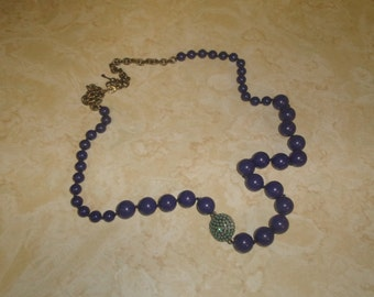 vintage necklace purple glass turquoise colored rhinestones