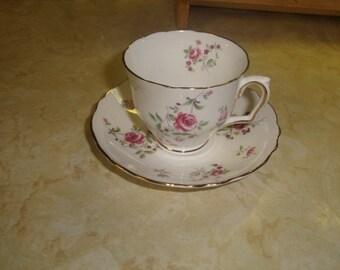 vintage bone china tea cup saucer set crown staffordshire pink rose