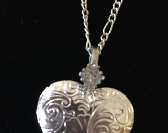 Heart Locket Necklace - Silver Embossed Heart Locket with Rhinestone Bail -Wedding Locket