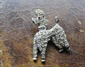 VINTAGE RHINESTONE POODLE Pin| Vintage Poodle Brooch Pin|French Poodle Brooch|60s Sparkling Silver Dog Pin|Ruby Eye Poodle Pin|Collar Pins