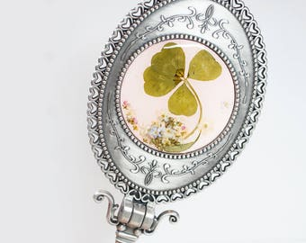 Four Leaf Clover Flower Stand and hand mirror - real pressed flower, under 30 gift idea, mothers day gift