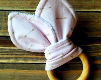 Organic Baby Girl Teething Ring Baby Shower or Birthday Gift