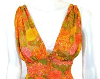 1960s Negligee Orange Negligee Orange Floral Nightie 60s Nightgown Sleeveless Nightie Flower Print Nightgown Sleepwear Lingerie