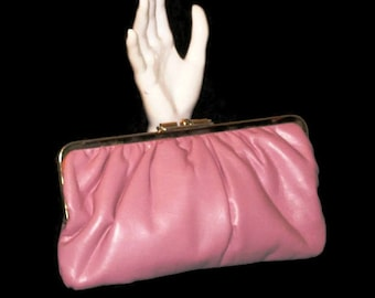 80s Pink Clutch Pink Leather Purse Pink Leather Clutch 1970s Leather Handbag Pink Clutch Pink Leather Pocketbook Pink Pocketbook Pink Purse